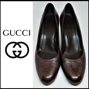 GUCCI GG Guccissima Brown Leather Pump Shoes 9B